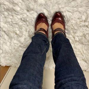 Maroon Mary Jane style shoe